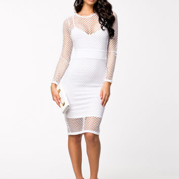 White Long Sleeve Netted Bodycon Midi Dress