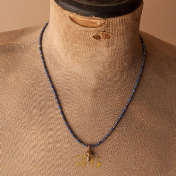J. Forks Micro Bead Lapis Skull Necklace