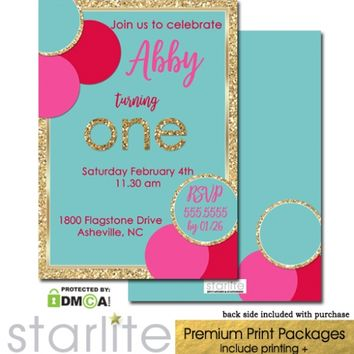 1st Birthday Invitation Girl Turquoise Pink Red Gold Glitter