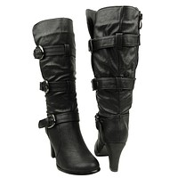 Womens Strappy High Heel Knee High Boots Black
