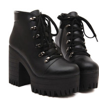 Hot Womens Gothic Roma High Heel Chunky Platform Lace Up Punk Ankle Boots Shoes