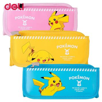 Deli  Large Capacity Zipper Pencil Case Stationery Supplies Student Cartoon pikachu Chancellery Pencil Box Storage BagKawaii Pokemon go  AT_89_9
