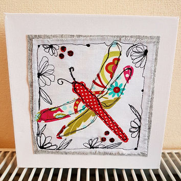 Dragonfly canvas-free motion machine embroidery-textiles art- machine embroidery free postage- sewing- gift for all ages