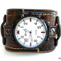 Vintage looking Wrist Watch, Men's Leather Watch band, Aged, Handmade, Brown