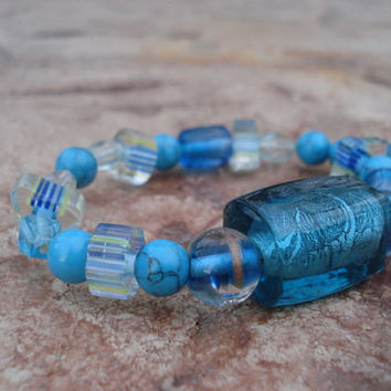 Turquoise Bracelet, Semiprecious Stone with Turquoise Glass Beads