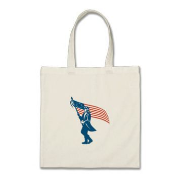 American Serviceman Soldier Waving Flag Retro Tote Bag