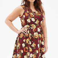 Rose Print Fit & Flare Dress