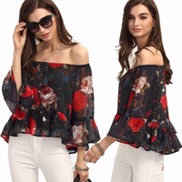 Super Cute Black with Red Flowers  Off the Shoulder Top/Blouse with Bell Sleeves