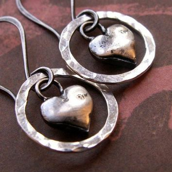 Heart and Hoop Earrings, Sterling Silver