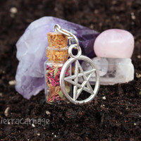 Attract Love, Warmth and Compassion Herbal Mixture Bottle Necklace- Wiccan, Pagan, Witch, Amulet, Talisman, Pentagram, Mother Nature