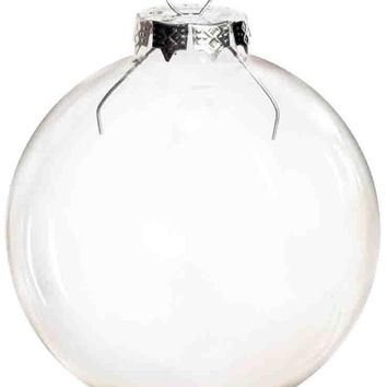 Free Shipping DIY Paintable Clear Christmas Ornament Decoration 80mm Glass Ball With Silver Top, 100/Pack