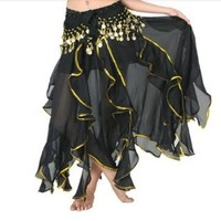 BellyLady Belly Dance Chiffon Lotus Leaf Skirt, Bollywood Arabic Dance Costume BLACK