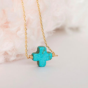 SALE - Turquoise Sideways Square Cross Necklace, Gold or Silver Chain