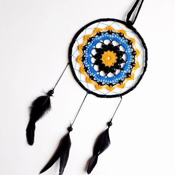 Hanging dream catcher, crochet mandala, boho, nursery decor, crochet doily, wall hanging, medium, black, yellow, blue, unique, handmade