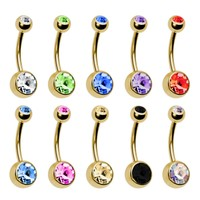 BodyJ4You Belly Rings Lot of 10 Double Gem Goldtone 14 Gauge 10 Pieces