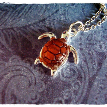 Amber Turtle Necklace - Silver Turtle with an Amber Resin Shell Charm on a Delicate 18 Inch Silver Plated Cable Chain