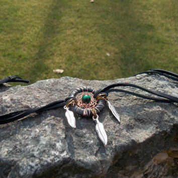 Dream Catcher Bracelet with Green Tiger's Eye Gemstone // Hippie Boho Jewelry