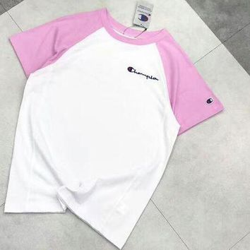 Gotopfashion Champion Colorful Sleeve & White Fresh Color Women Men Tee Shirt Top B-AA-XDD Pink