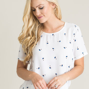 Sofie White Floral Print Top