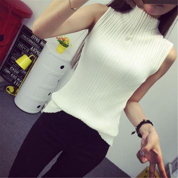 2018 spring summer turtleneck tanks women sleeveless top crop female stand collar elastic force vest female pull femme sexy top
