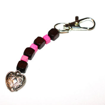 Wooden Beaded Keychain with Silver Heart Charm