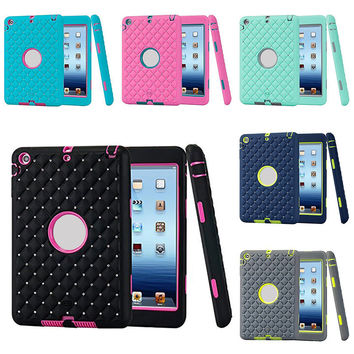 Unique Silicone Design Soft 3 In1 Hybrid Shockproof Protective Bling Crystal Cover Case for Ipad Mini 3/ 2/ 1