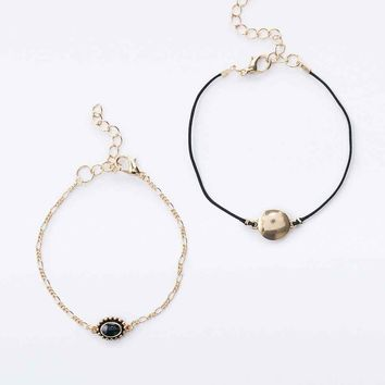 Disc and Stone Bracelet 2-Pack in Gold - Urban Outfitters