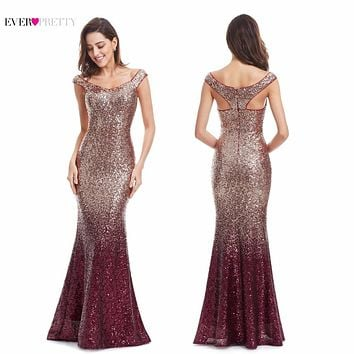 Long Sparkle Prom Dresses Ever Pretty 2017 New V-Neck Women Elegant DR99980PEC Sequin Mermaid Maxi Party Gown Dresses