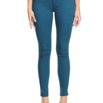 Semi High Rise Solid 5 Pocket Jeans Teal