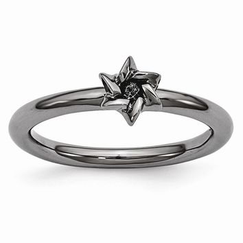 Black Plated Sterling Silver Stackable 7mm Star of David Ring