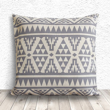 Pillow Cover, Aztec Pillow Cover, Tribal Pillow Cover, Linen Pillow Cover 18x18 - Printed Tribal - 021