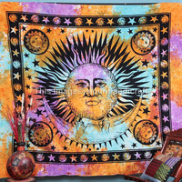 Celestial Sun Moon & Stars Tapestry, Psychedelic Celestial Sun Moon Tie Dye Tapestry, Indian Tapestry, Teen Age Dorm Bedding, Sun-Moon- Star