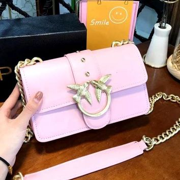 Pinko 2019 new solid color shoulder bag diagonal cross bag Bacchus chain bag Pink