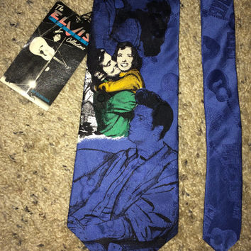 Sale!!  Vintage 90s ELVIS PRESLEY Collection Necktie Love me Tender Print Italian Silk Tie Made in USA