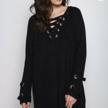 V Neck Hoodie Lace Up Sweater Dress