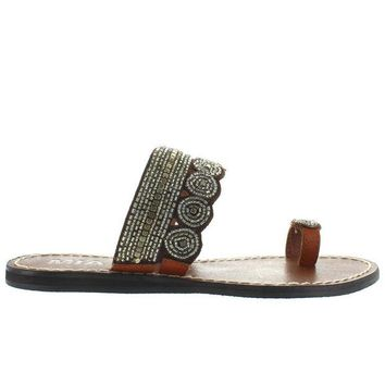 ONETOW MIA Athens - Clear Multi Beaded/Brown Leather Flat Toe Loop Sandal