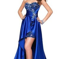 Women Ladies Beaded Front Short Long Back Evening Prom Party Dress Evening Gown Blue
