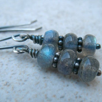 Labradorite Beaded Earrings Sterling Silver Jewelry Stack Gemstone Earrings