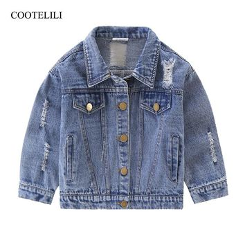 COOTELILI 80-130cm Fashion 2018 Spring Kids Girls Coat For Boys Windbreaker Children Clothes Distrressed Denim Jean Jacket