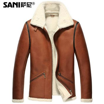 Leather Suede Shearling Sheepskin Jacket