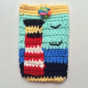 Lighthouse Smartphone iPhone case hand crocheted original design 100%cotton yarn holiday birthday Easter Mother's Day gift attractive design