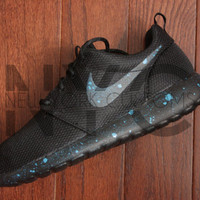 Nike Roshe One Run Black Blue Turquoise Splatter Custom Women & Men