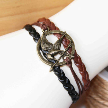 bird and arrow bracelet bronze alloy cotton wax cord PU pigtail multilayer summer trending simple fashion friendship graduation gifts