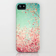 Blue Autumn, Pink leafs on blue, turquoise, green, aqua sky iPhone Case by Andreka Photography | Society6