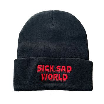 SICK SAD WORLD embroidered knit beanie