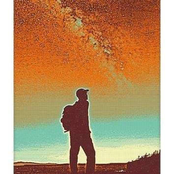 The Milky Way, The Blood Moon And The Explorer Poster By Adam Asar 4 - Yoga Mat