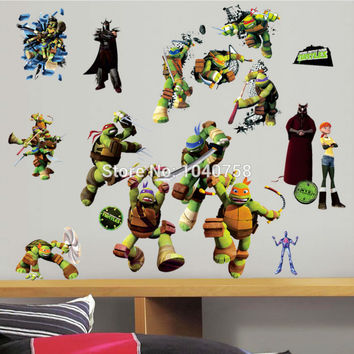 Teenage Mutant Ninja Turtles Leo Miki Wall Stickers for Kids Room Baby TMNT Decals Home Decoration Art Boys Wallpaper Posters