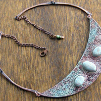 Celtic Queen Crescent Moon Copper Necklace