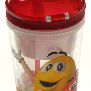 Spoontiques M&M 2 in 1 Combo Snack Drink Cup 16 Oz Flip Top Compartment No Spill