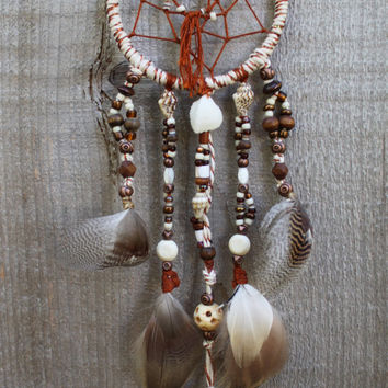 Handmade Mini Copper Sea Shell Beaded Dream Catcher
